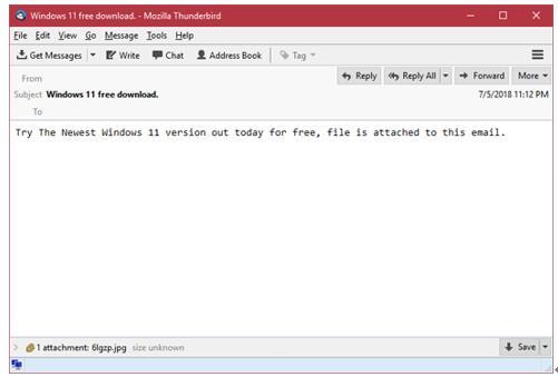伪装成JPG文件的恶意邮件附件
